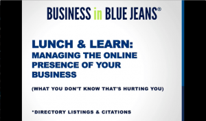 Webinar - Managing the Online Presence of Your Business - directory listings and citations SEO