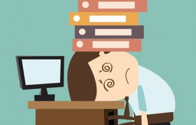 Businessman suffering his point of pain under files and books.